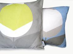 Minimalist flower in yellow and Blue AGRESTO_ON_GREY cusion cover Alchemy, Yellow, Blue, Minimalist, Throw Pillows, Flower, Grey, Fabric, Gray