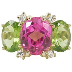 Pre-owned 18k Medium Gum Drop Ring with Pink Topaz Peridot and... ($3,400) ❤ liked on Polyvore featuring jewelry, rings, three-stone rings, womens jewellery, diamond rings, three stone engagement rings, three stone ring and pre owned rings