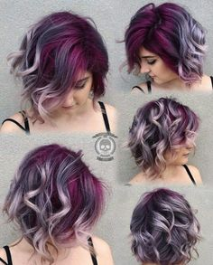 Purple ombre short hair