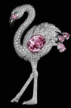 Cartier brooch, platinum, sapphire color, pink and white diamonds, emeralds, pearls.