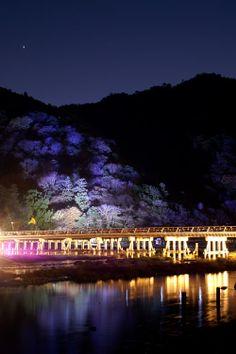 Togetsukyo Bridge Illumination in Arashiyama, Kyoto, Japan 京都 嵐山花灯路