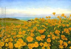 A Field of Buttercups by the Coast by Johanne Nicoline Louise Frimodt