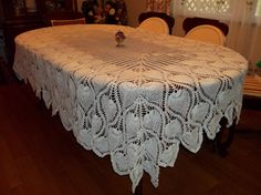 Vintage Crochet Pineapple Tablecloth