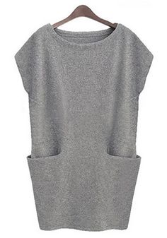 Light Grey Plain Pockets Mini Dress