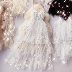 Online Shop HISUMA summer new female V-neck strap stars sequined layer ruffles mesh ball gown Fairy dresses women's sling bling tiered dress Pretty Prom Dresses, Hoco Dresses, Ball Dresses, Pretty Outfits, Cute Dresses, Beautiful Dresses, Ball Gowns, Formal Dresses, Casual Dresses