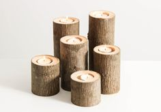 Tree Branch Candle Holders Set of 6- Rustic Wood Candle Holders, Tree Slice, Woodland Candle Holders by WorleysLighting on Etsy https://www.etsy.com/listing/87620410/tree-branch-candle-holders-set-of-6