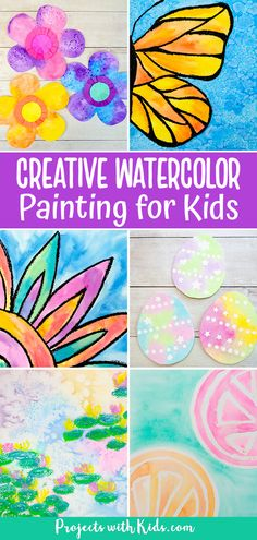 Totally awesome watercolor painting for kids. Watercolor ideas that kids of all ages will love to explore and create. Spring Arts And Crafts, Spring Art Projects, Clay Art Projects, Craft Projects For Kids, Crafts For Kids, Diy Projects, Kids Painting Activities, Painting For Kids, Art For Kids