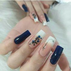 May Nails, Hair And Nails, Square Nail Designs, Nail Art Designs, Cute Nails, Pretty Nails, Nail Polish Art, Manicure E Pedicure, Long Acrylic Nails