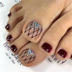 Gold Toe Nails, Pretty Toe Nails, Cute Toe Nails, Pink Nails, Gel Nails, French Toe Nails, Painted Toe Nails, Toenails, Lace Nail Art
