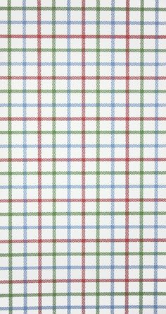 Stephen Plaid Wallpaper A classic check wallpaper inspired by wollen plaids in light green, blue and red on a white background.