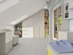 Grey, white and yellow room for little boy. Wardrobe and bookcase. You can find more on our website www.colorato.pl or http://galeria-colorato.blogspot.com/