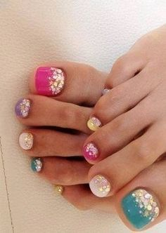 multicolor nails with glitter
