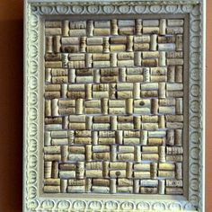 Wine cork board with antique frame.