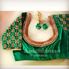 Want heavy bridal blouse to wear with your wedding lehenga/saree? These Chennai Bridal Blouse Designers make extraordinary blouses as per your requirement. Cotton Saree Blouse Designs, Wedding Saree Blouse Designs, Fancy Blouse Designs, Sari Blouse, Hand Work Blouse Design, Stylish Blouse Design, Maggam Work Designs, Designer Blouse Patterns, Green Blouse