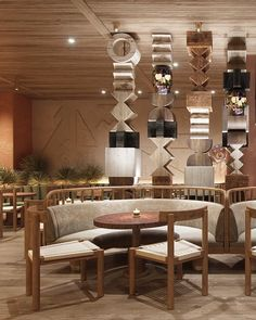 Las Santas restaurant by Asthetique has an eclectic feel, mixing rustic wood with over-the-top, bright, vivid colors. Rustic Restaurant Interior, Resturant Interior, Eclectic Restaurant, Restaurant Chairs, Restaurant Design, Ceiling Wood Design, Hospitality Design, Cafe Design, Commercial Design