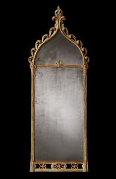Regency Gothic Mirror. Carved, Painted & Gilt Wood and Mirrored Glass. England. Circa Late-18th to Early 19th Centuries.