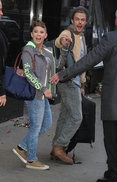 Holding hands, 'Dancing with the Stars' winners Bindi Irwin and Derek Hough spotted leaving 'Good Morning America' in NYC's Times Square (New York). Track your favorite stars at starsightings.com.