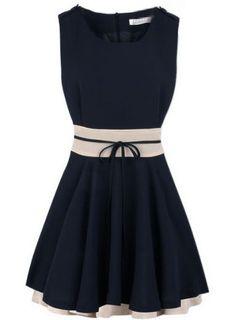 Navy Sleeveless Belt Zipper Pleated Chiffon Dress - Sheinside.com