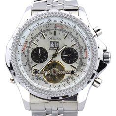 Orkina Herren-Armbanduhr Chronograph Edelstahl mechanisches Uhrwerk mit Handaufzug KC082SSW silberfarbenes Gehäuse - http://uhr.haus/orkina-2/orkina-herren-armbanduhr-chronograph-edelstahl