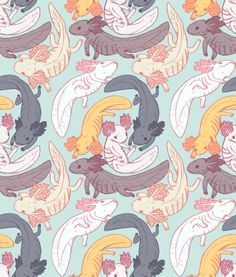 honneeb:    psittacosaurus:    axolotl pattern!!!!feel free to use… but if you use it somewhere public it'd be nice if you credited me :'^      fucking YES