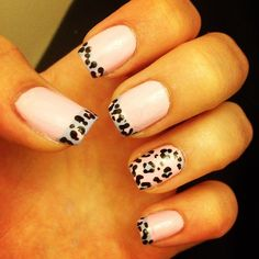 nails  rosa y leopardo...