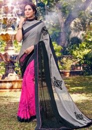 Party Wear Grey Georgette Embroidered Work Saree