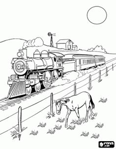 Old west steam train Coloring pages - Steam engine Coloring Train Coloring Pages, Coloring Pages To Print, Coloring Book Pages, Coloring Pages For Kids, Coloring Sheets, Free Coloring, Train Cartoon, Train Drawing, Castle Drawing