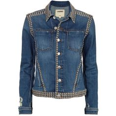 L'Agence Women's Celine Studded Jean Jacket ($515) ❤ liked on Polyvore featuring outerwear, jackets, denim, blue jean jacket, blue denim jacket, jean jacket, distressed denim jacket and studded jean jacket