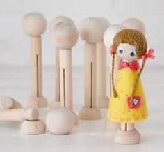 DIY Clothespin Doll 30 Wooden Dolls Wooden by CraftyWoolFelt