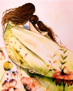 Mother and Daughter with Curly Brown Hair ~ Claudia Tremblay ~