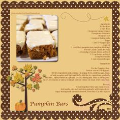 CG recipe challenge, Pumpkin Bars - Two Peas in a Bucket