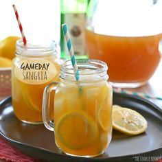 Gameday Sangria, the perfect cocktail for the Superbowl or March Madness! Easy Sangria for a crowd. Yum! | The Cookie Rookie