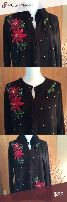 Holiday sweater with poinsettias size large New with tags, never worn black open sweater with Christmas design on front. Design includes Christmas poinsettias and fake pearl colored beads. Sweater also has thread colored buttons and detachable fake fur collar. Brand:  OHI. Size:  Large. Materials:  55% Ramie. 45% cotton  Measurements   Length:   25 inches  Bust:  21 inches side to side  Waist:  21 1/2 inches sidevto side  Sleeves:  24 inches in length  Listing:  193 O H I  Sweaters Cardigans