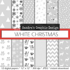 "Christmas digital paper: ""WHITE CHRISTMAS"" with white Christmas patterns, for Christmas cards, scrapbooking (609)"