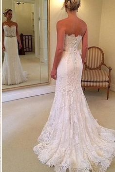 New 2017 Sweetheart Lace Mermaid Wedding Dresses Bridal Gowns With Buttons LD271