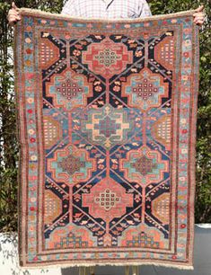 Bakhtiari Rozveh village rug with repeating medallions- click to see enlarged view