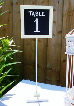 5 X WHITE WOODEN CHALKBOARD SIGNS TABLE NUMBER/NAME HOLDERS STANDS SHABBY CHIC