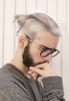 Silver blonde #manbun with beard everyone be prepared this will be happening to my head