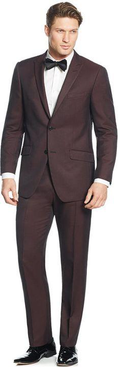 Perry Ellis Burgundy Solid Slim-Fit Suit