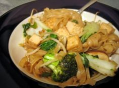 Thai drunken noodles - used baked soft tofu and skip that step. It's good both ways. Also can substitute chicken for tofu.