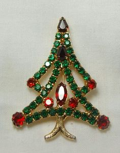 Rhinestone christmas tree brooch
