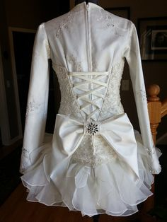 Wedding dress turned into a fabulous Irish Dance Solo Dress Costume. Would love to see the front!