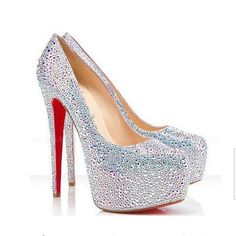 Silver pearl shoes Bridal wedding shoes Red soles by BlingLaFang, $159.00