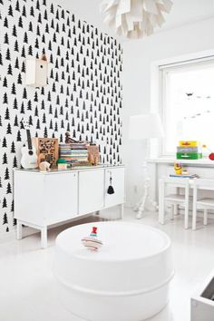 Love the wallpaper-monochrome baby room child room black white nursery werner panton IKEA fine little day Black White Nursery, White Kids Room, The Design Files, Kids Room Design, Home Interior, Interior Design, Interior Stylist, Interior Decorating, Apartment Interior