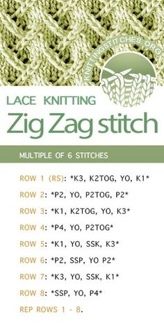 #KnittingStitches -- Knitting instructions for Zig Zag (Rick Rack) stitch pattern. Pretty! I love this lace pattern #knittingpattern #KnittingInstructions