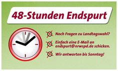 Noch Fragen zur Landtagswahl 2012 ?   Bitte Mail an endspurt@nrwspd.de senden !