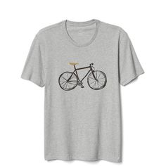 Gap Men Bike Graphic Tee (€19) ❤ liked on Polyvore featuring men's fashion, men's clothing, men's shirts, men's t-shirts, new heather grey, regular, mens straight hem shirts, j crew mens shirts, gap mens t shirts and mens t shirts