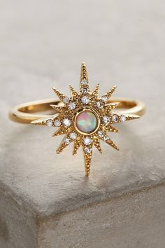 Anthropologie Opalescent Sunburst Ring