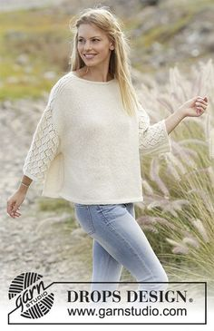 Vanilla Kiss jumper with lace pattern worked top down by DROPS Design  Free Knitting Pattern