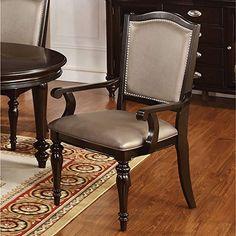 5215b25c48 Furniture of America Harllington Leatherette Arm Chair (Set of 2) Dining  Decor